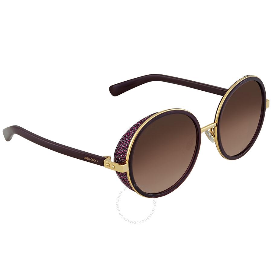 4b4cb4debb2 Jimmy Choo Round Gold Violet Plum Sunglasses ANDIE N S 54V6 54 ...