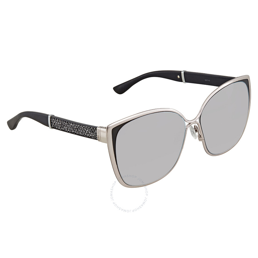 0317942dda5f Jimmy Choo Violet Silver Cat Eye Sunglasses MATY S 58FU 58 - Jimmy ...