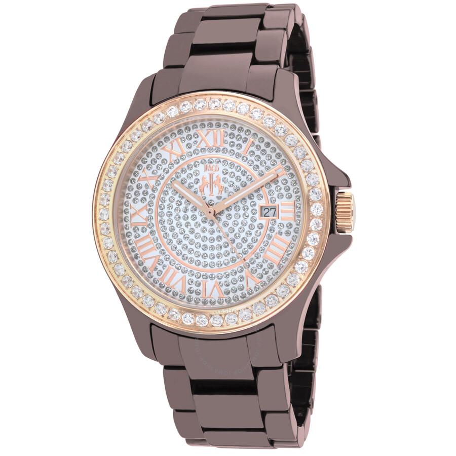 Ceramic Crystal Pave Dial Ladies Maroon Watch JV9416