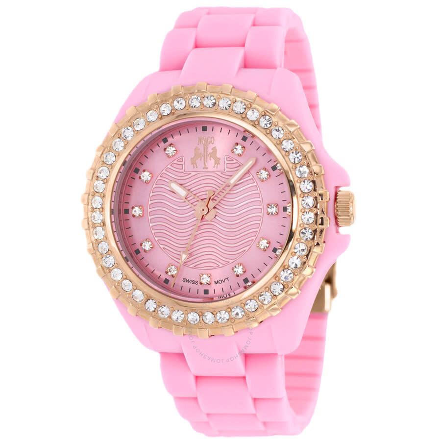 Cherie Pink Dial Crystal-set Ladies Watch JV8216
