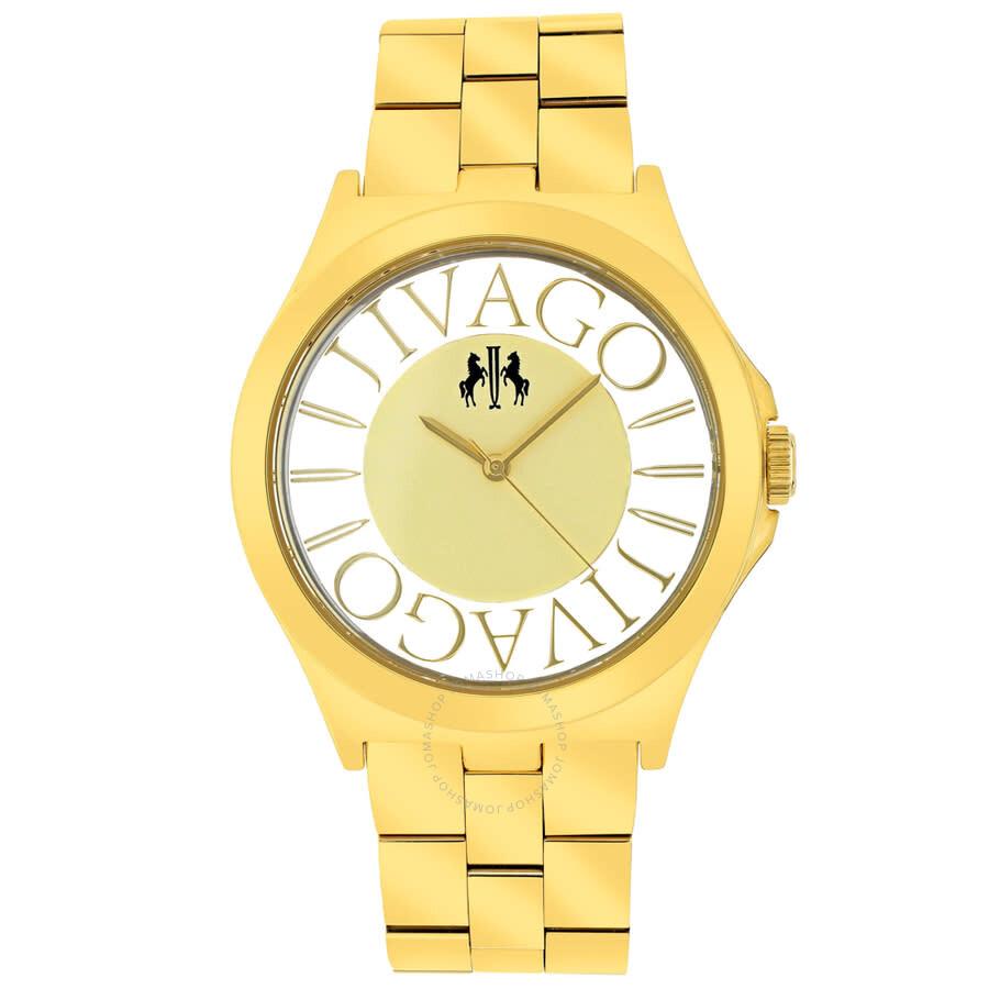 Fun Gold Dial Gold-tone Ladies Watch JV8414
