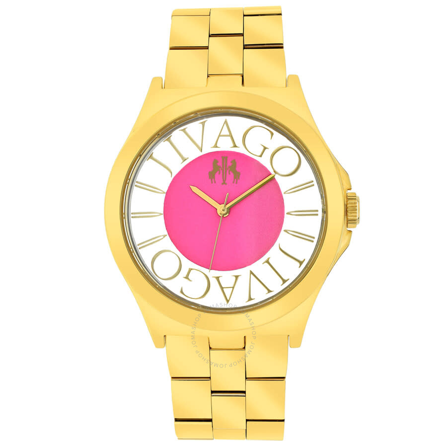 Fun Pink Dial Gold-tone Ladies Watch JV8413