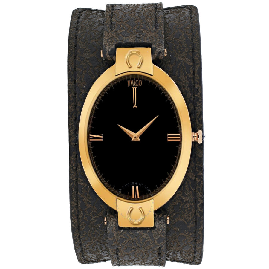 Good Luck Black Dial Brown Leather Ladies Watch JV1834
