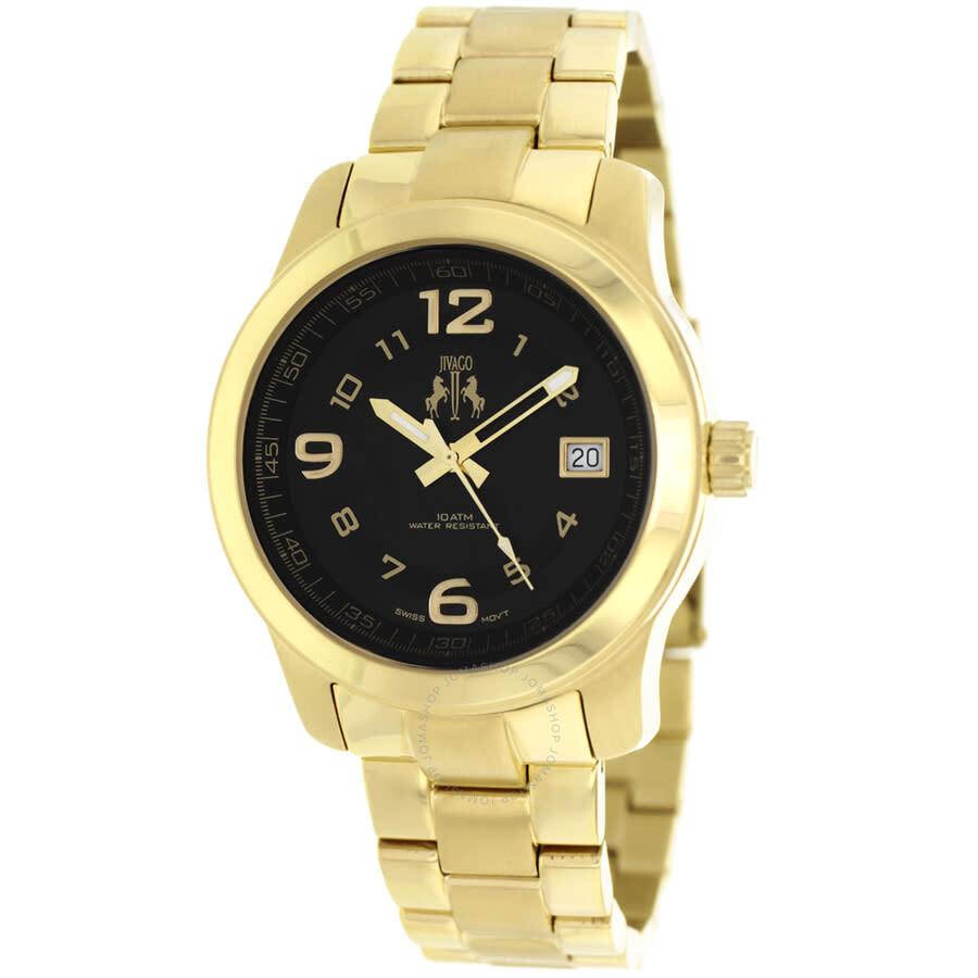 Infinity Black Dial Gold-tone Ladies Watch JV5213