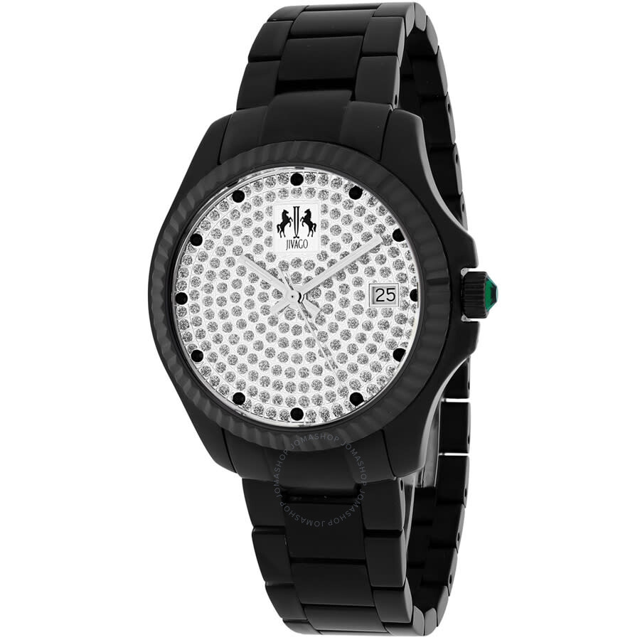 Jolie Silver With Pave Diamonds Dial Black Stainless Steel Ladies Watch JV3211