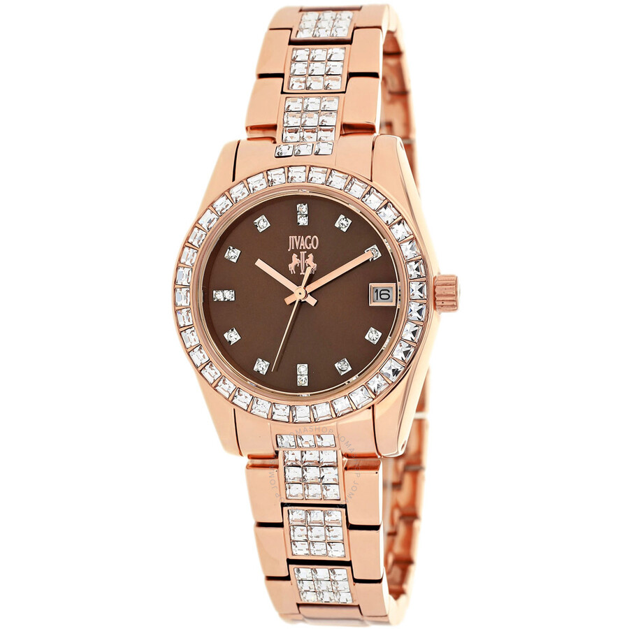 Jivago Magnifique Brown Dial Set With Crystals Rose Gold ...