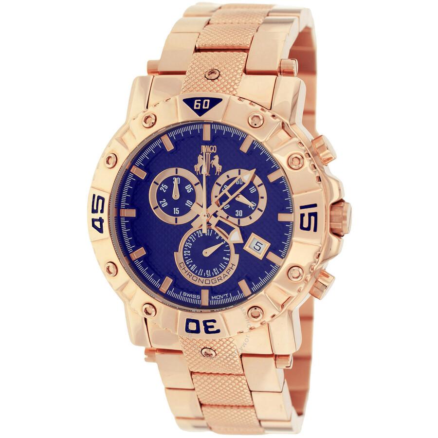 9b269ee5c90 Jivago Titan Blue Dial Rose Gold Tone Men s Chronograph Watch Item No.  JV9126