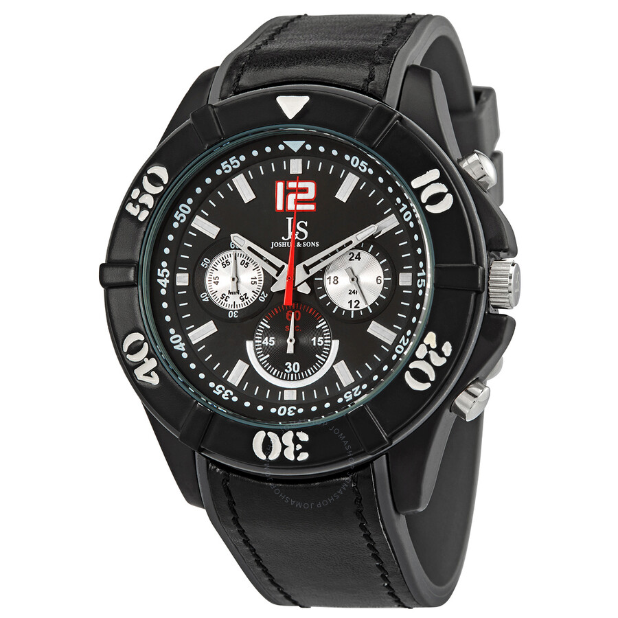 c5bc80ef4 Joshua and Sons Chronograph Black Dial Black Leather Men's Watch Item No.  JS51GY