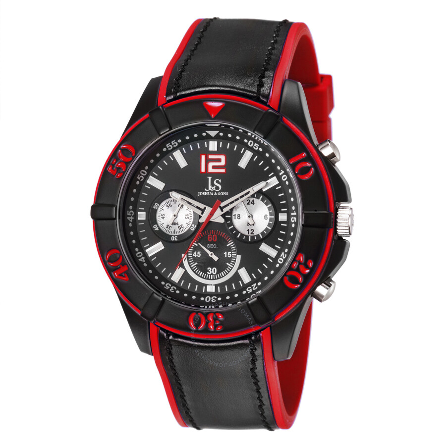 joshua and sons red and black chronograph strap men s watch js51rd forgot password