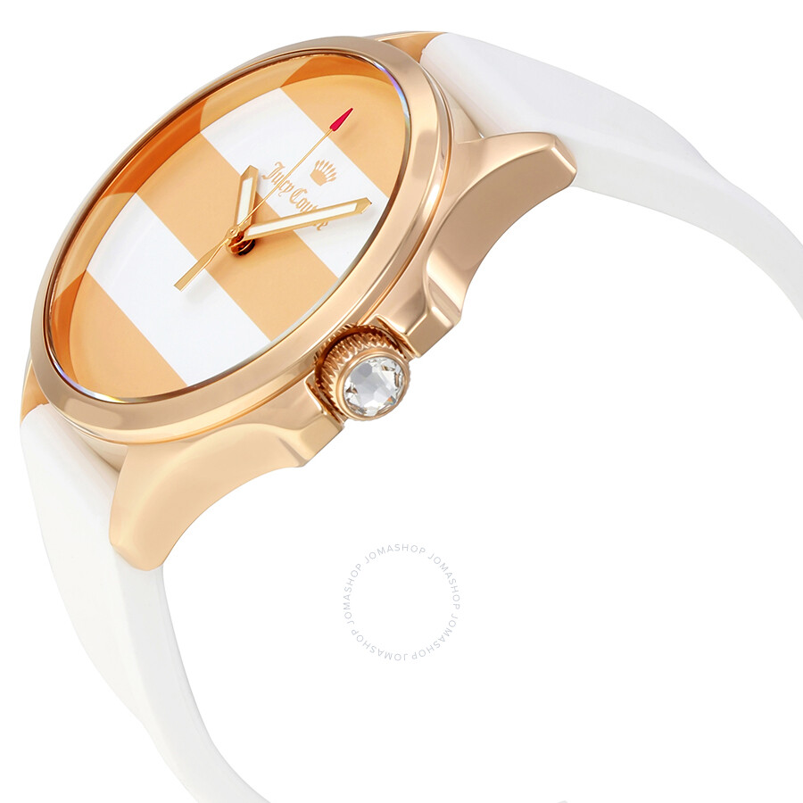 Juicy Couture Gold and White Stripe Dial Ladies Watch ...