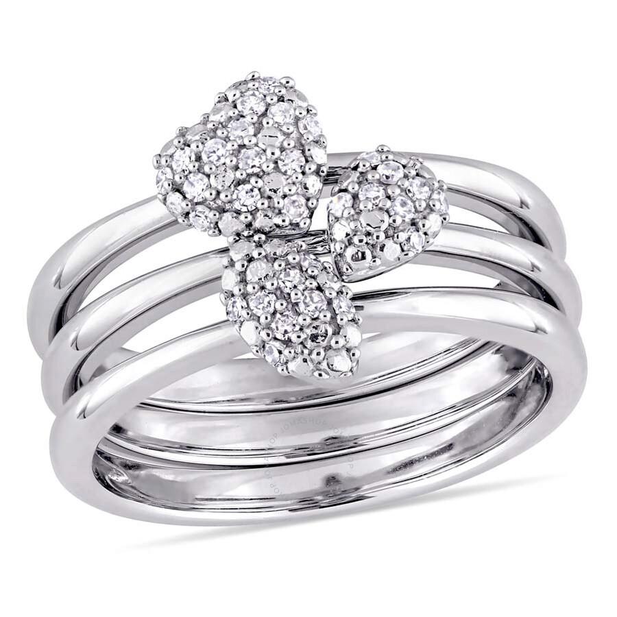 Julianna B 1 6 Ct Tw Diamond Motif 3 Piece 14k White Gold Stacking Ring Set Size 5