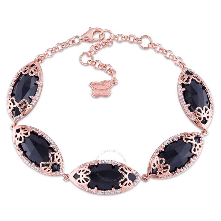 Julianna B Sse Black Onyx Diamond Pink Gold Plated Sterling Silver Bracelet
