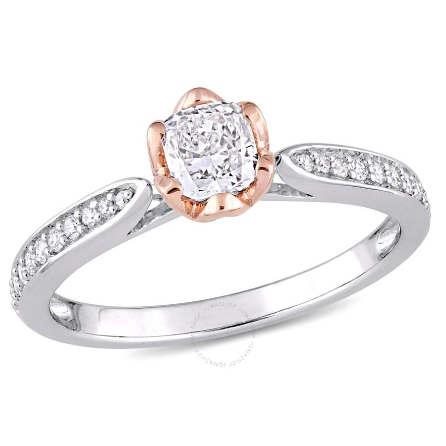 Julianna B 14K White and Rose Gold Cushion 5 8 CT Diamond Engagement Ring S
