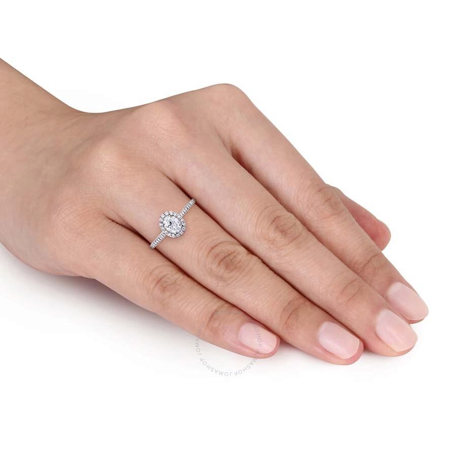 Julianna B.14K White Gold Oval Halo 3 4 CT Diamond Ring - Size 8 ... 4a9211a5554f