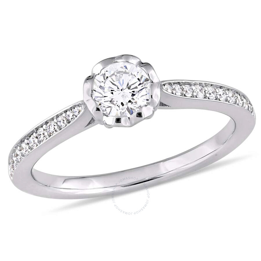 Julianna B 14K White Gold Round 5 8 CT Diamond Engagement Ring Size 9 Jul