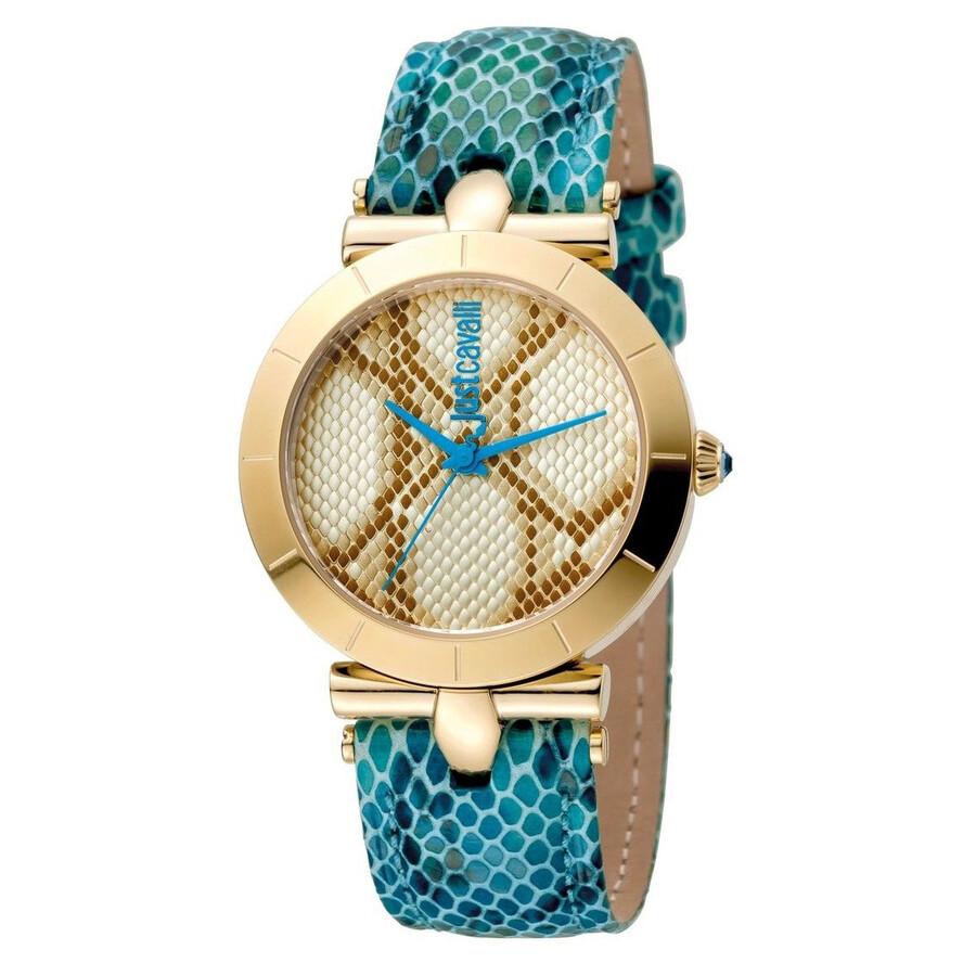 Just Cavalli Animal Champagne Dial Ladies Blue Leather Watch Item No.  JC1L005L0045 5a5db8c0fa