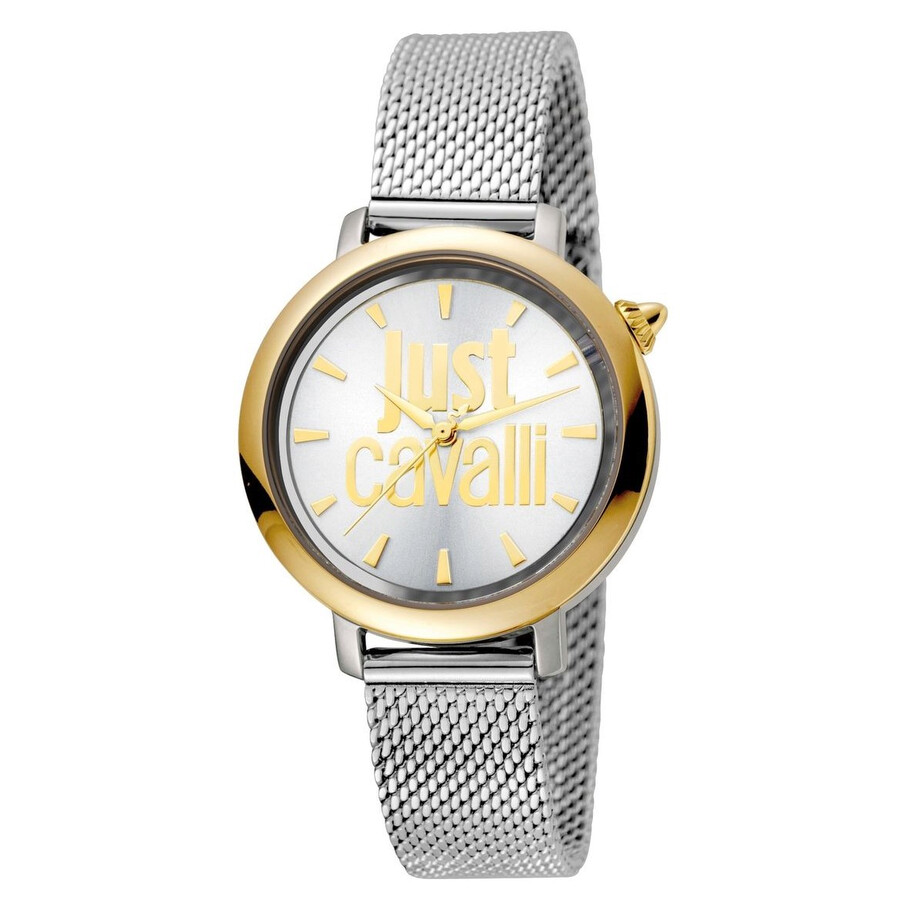 Just Cavalli Logo Silver Dial Ladies Mesh Watch JC1L007M0095 - Just ... d3714a07be