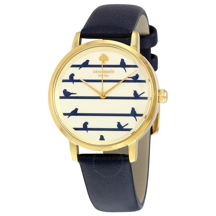 148b0641f6d Kate Spade Metro Bird on Wire Navy on Gold Dial Ladies Watch KSW1022 ...
