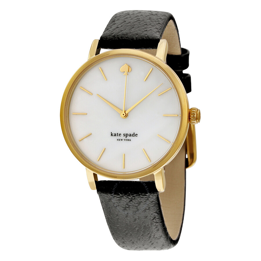 Kate spade mother of pearl dial black leather ladies watch 1yru0010 kate spade watches for Mother of pearl dial watch