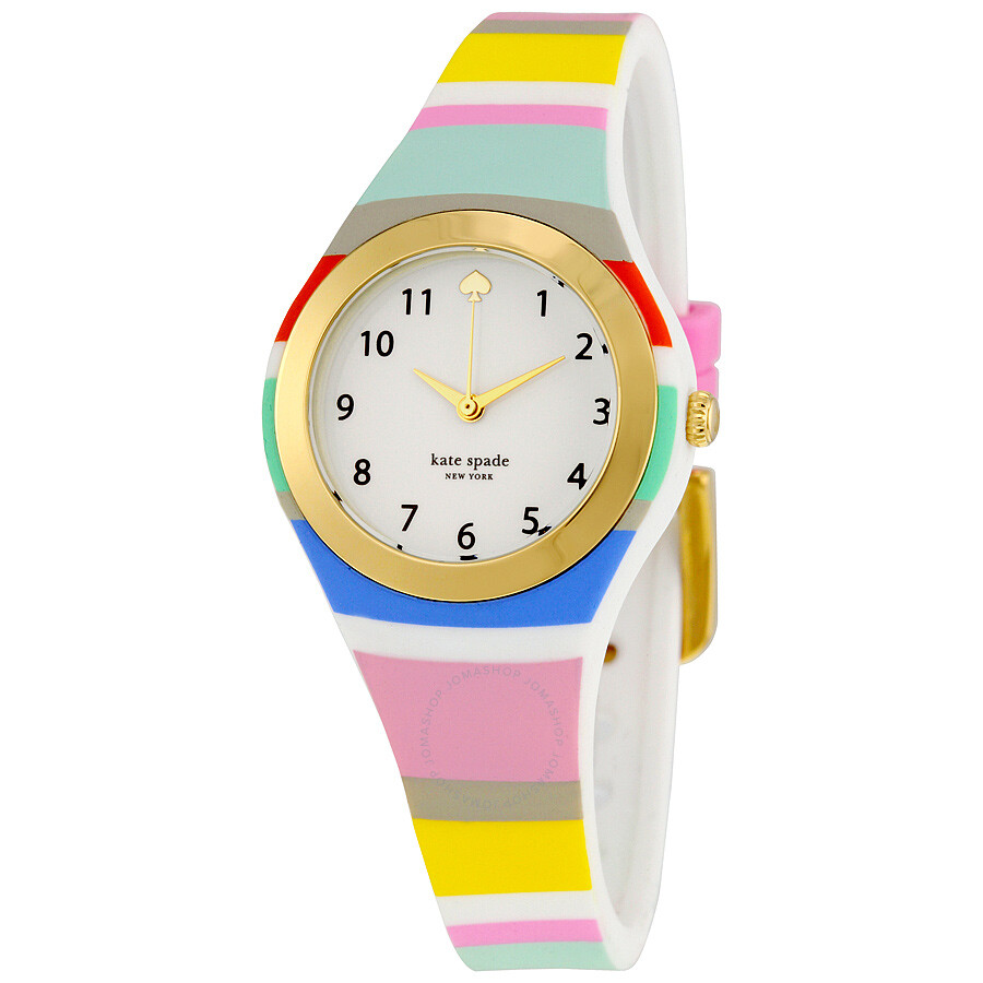 Kate spade rumsey multi color stripe silicone ladies watch ksw1076 kate spade watches jomashop for Rainbow color stripe watch