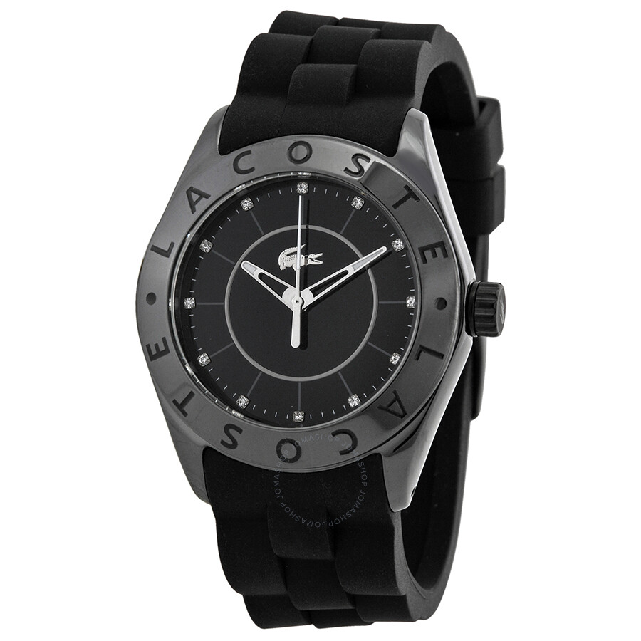 Lacoste biarritz black dial black rubber ladies watch 2000673 lacoste watches jomashop for Rubber watches