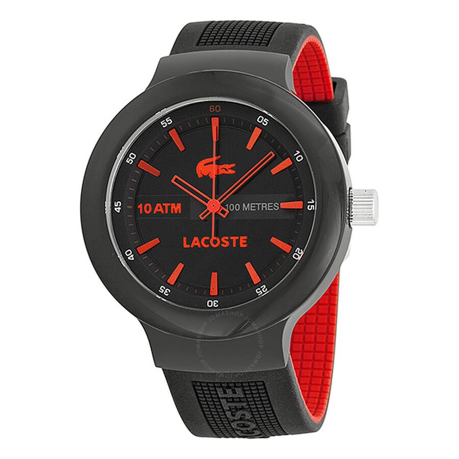 49c8e066954c Lacoste Borneo Black Dial Black and Red Silicone Men s Watch 2010660 ...