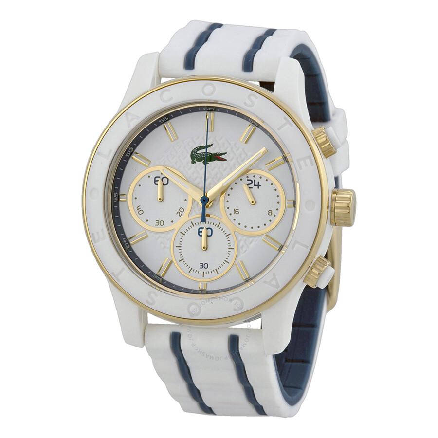 142301e6fa06 Lacoste Charlotte Chronograph White Dial White Rubber Ladies Watch 2000845  ...