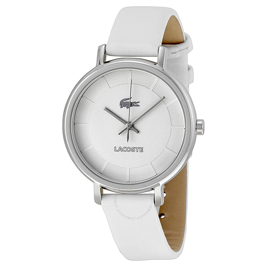 lacoste silver white leather