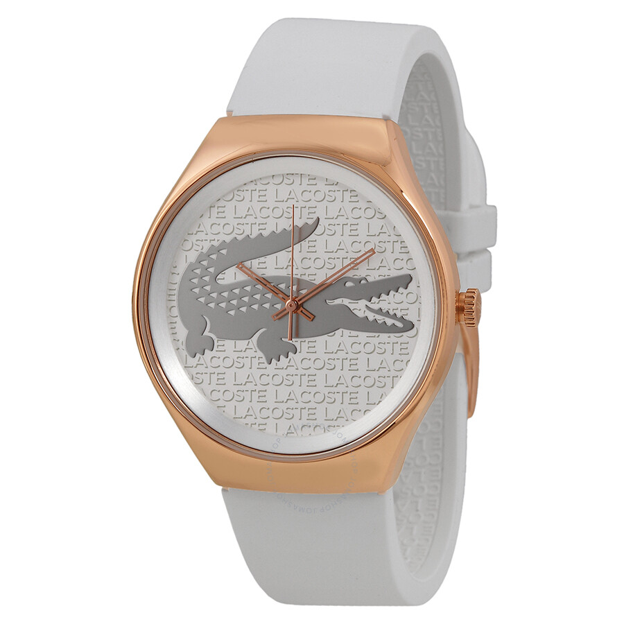 Lacoste Valencia Silver Dial White Silicone Ladies Watch 2000788 ... de52418729
