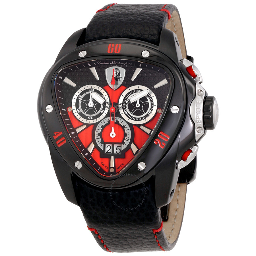 Lamborghini Spyder 1101 Chronograph Black And Red Dial Men S Watch