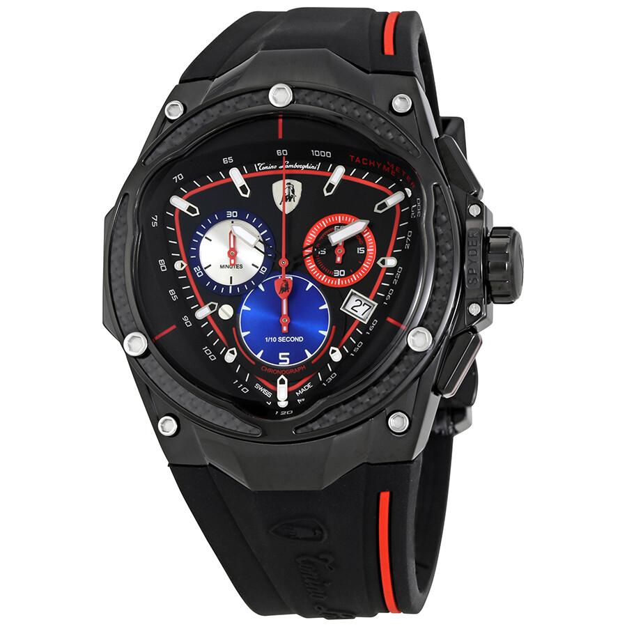 Lamborghini Spyder Red Line Black Dial Men S Chronograph Watch 08