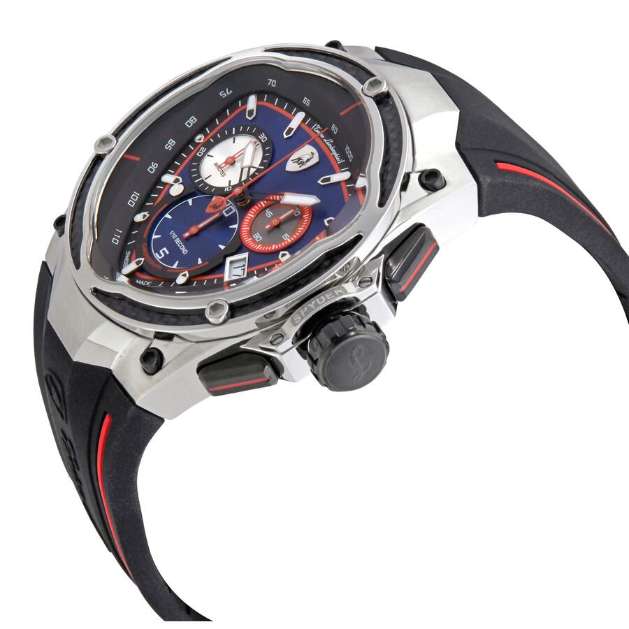 Lamborghini Spyder Red Line Blue Dial Men S Chronograph Watch Spyder