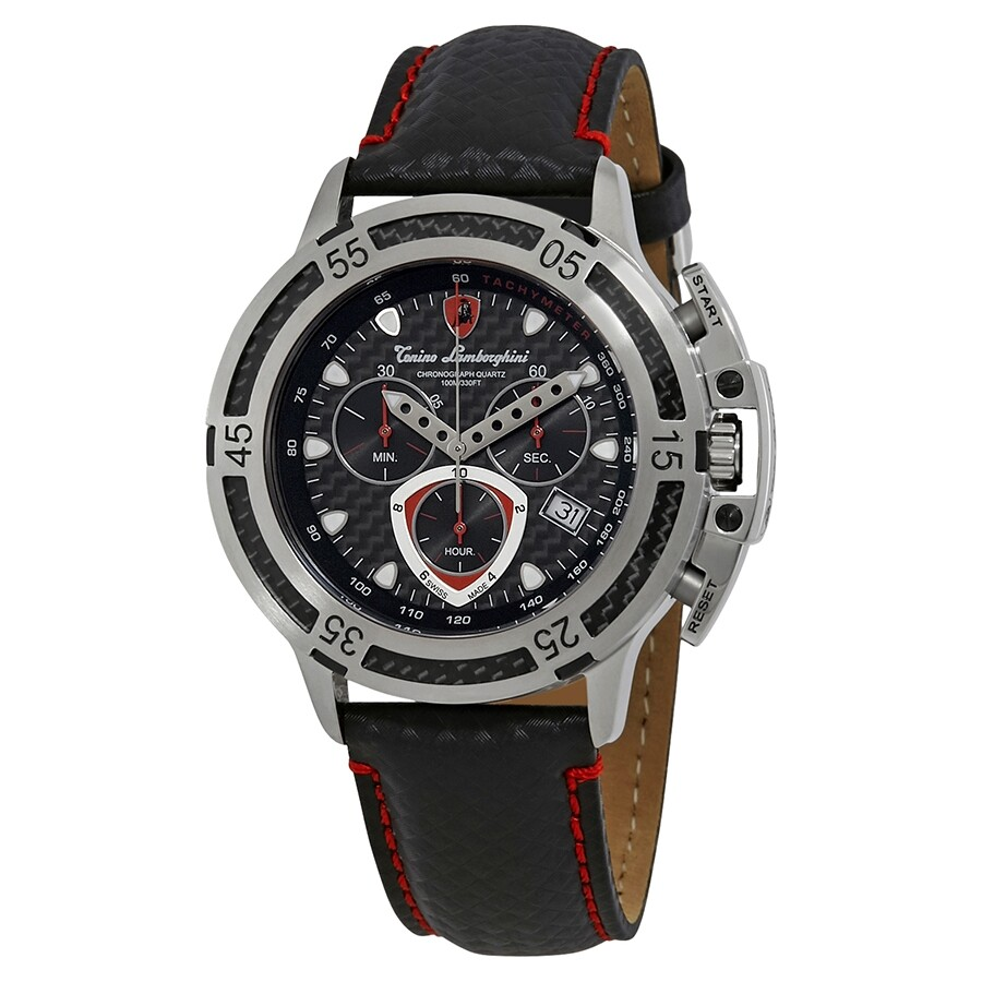 Lamborghini Wheels Matte Carbon Fiber Dial Men S Chronograph Watch
