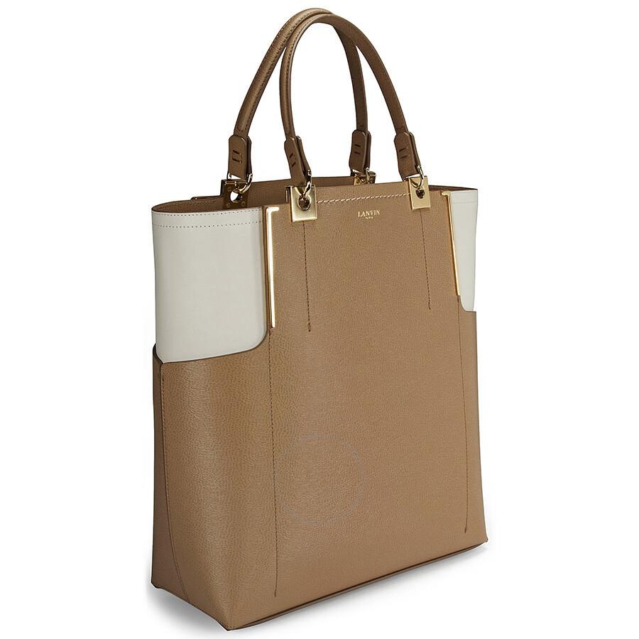 Lanvin Brown And Beige Calfskin Partition Vertical Tote Handbag