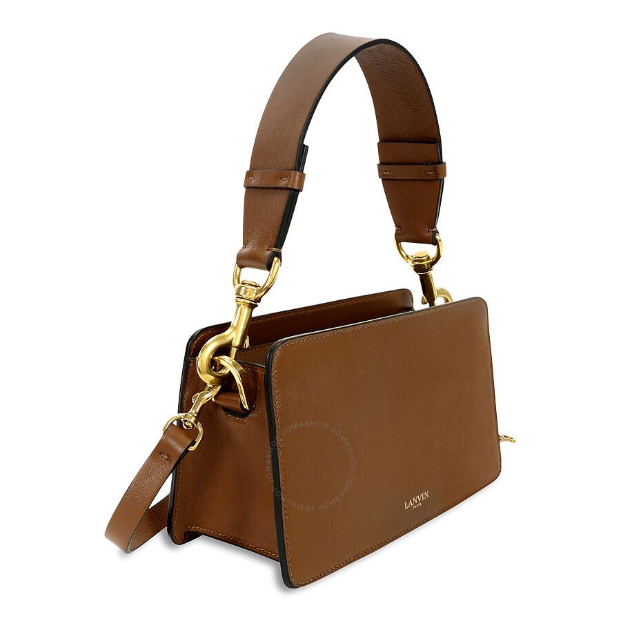 Lanvin Nomad Leather Box Shoulder Bag Camel