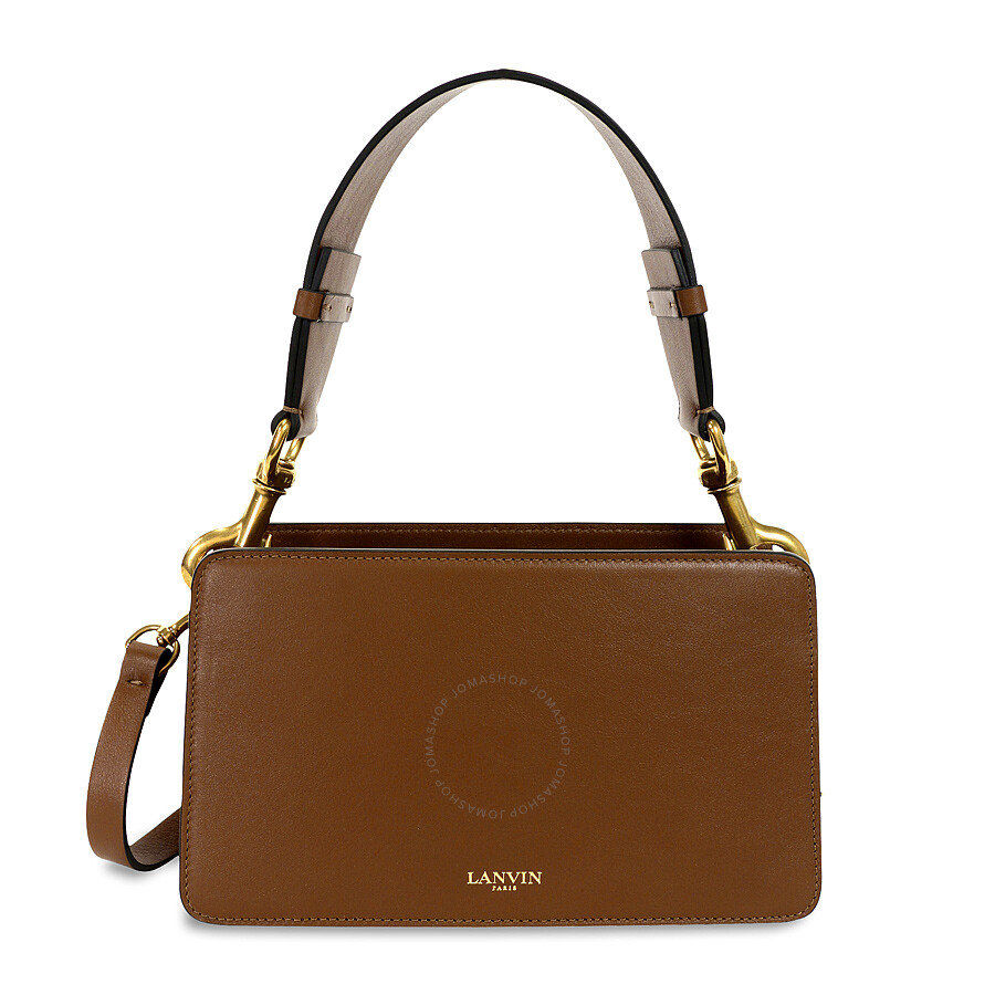 Lanvin Nomad Leather Box Shoulder Bag Camel