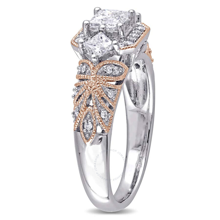 Laura Ashley 1 CT Princess and Round TW Diamond Engagement Ring Size 8 La