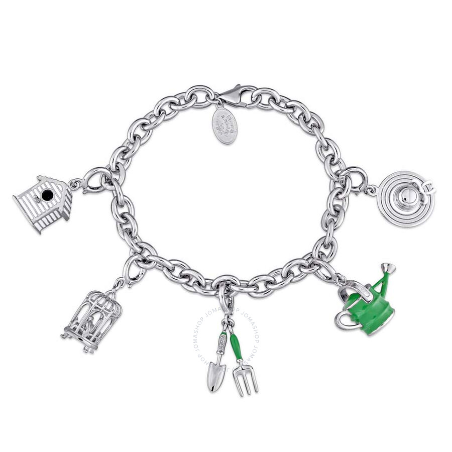 Laura Ashley Garden Collection Created White Shire Accent Charm Bracelet In Sterling Silver With Green