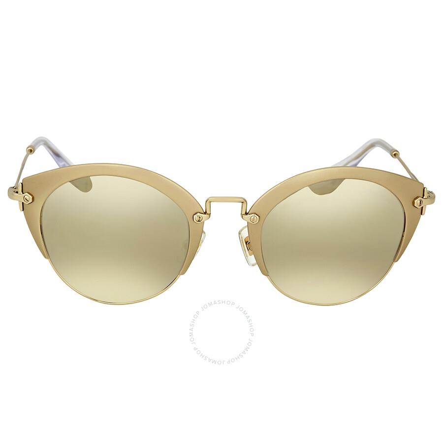 b62e18890c4 Light Brown Mirror Gold Cat Eye Sunglasses - Miu Miu - Sunglasses ...
