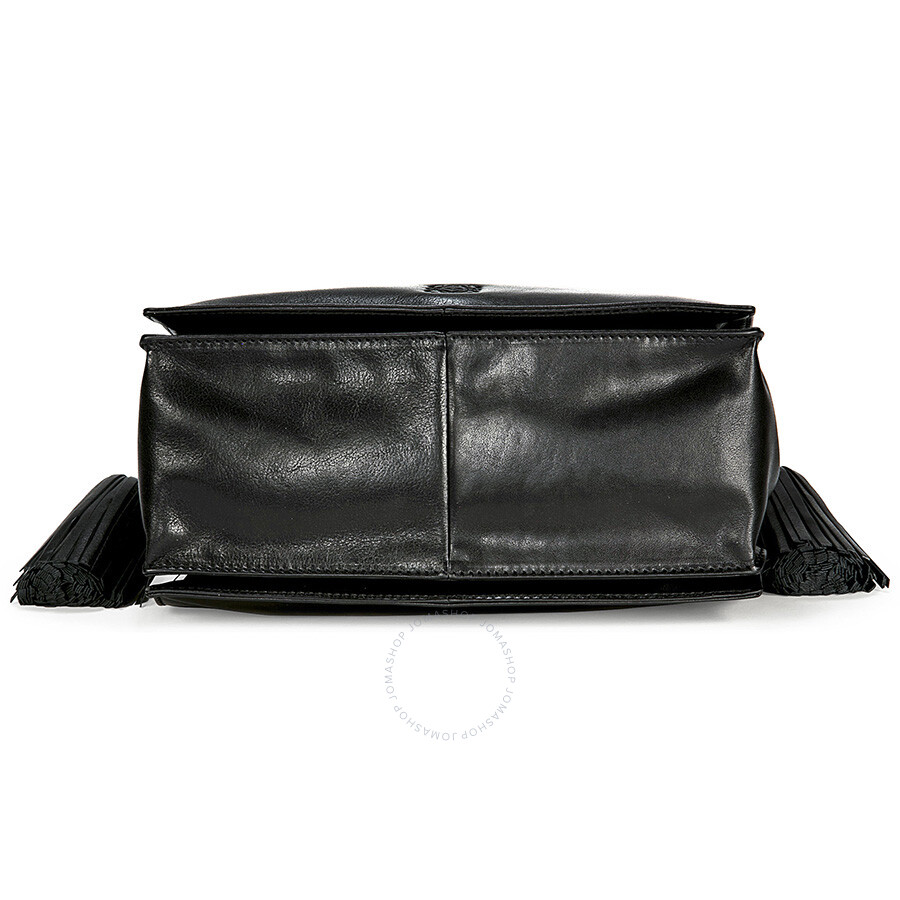 loewe flamenco black leather drawstring handbag