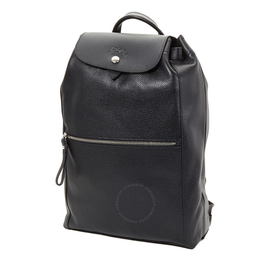 Longchamp Ladies Le Foulonne Black Leather Backpack