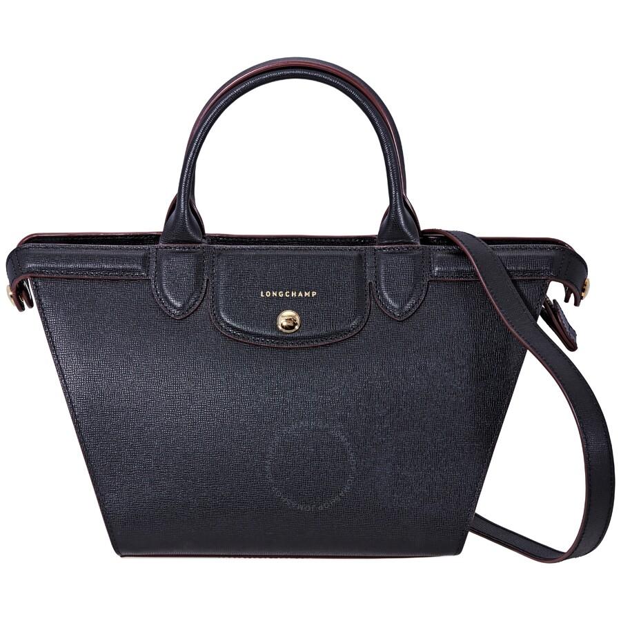 e7b34000b4 Longchamp Le Pliage Heritage Medium Leather Tote- Black Item No. 1117-813
