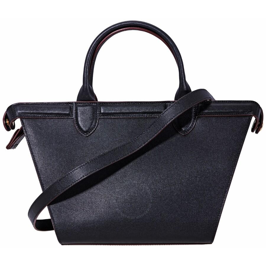 e8ba0e384 Longchamp Le Pliage Heritage Medium Leather Tote- Black Item No. 1117-813