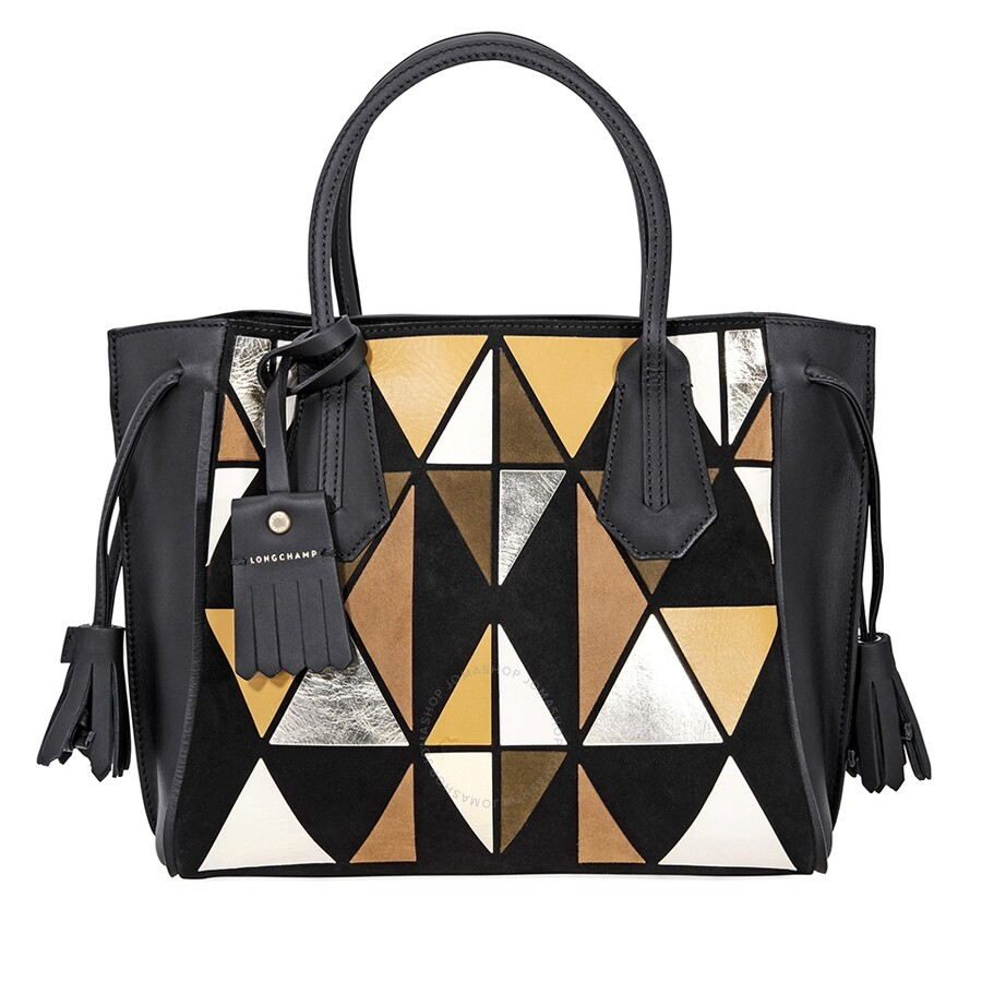 43fb34075 Longchamp Penelope Arty Leather and Suede Tote- Yellow/Black Item No.  1294-897