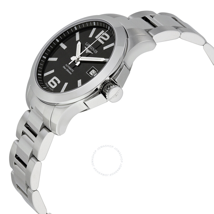 longines conquest black dial stainless steel men s watch l36764586 longines conquest black dial stainless steel men s watch l36764586