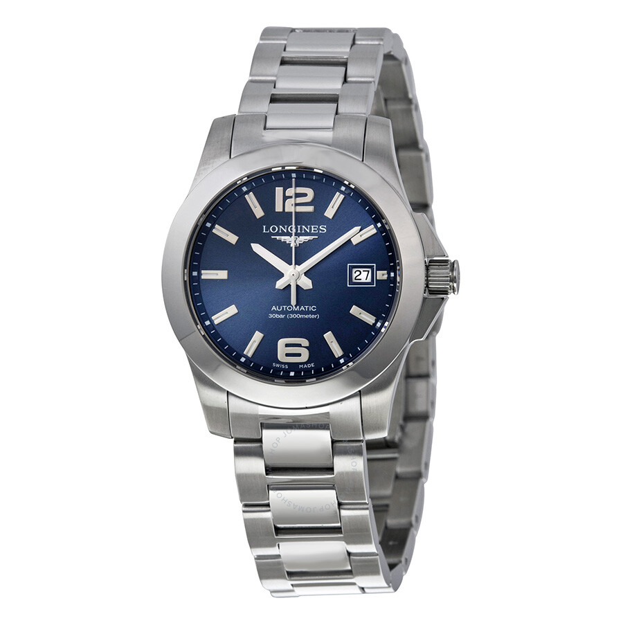 longines conquest automatic blue stainless steel
