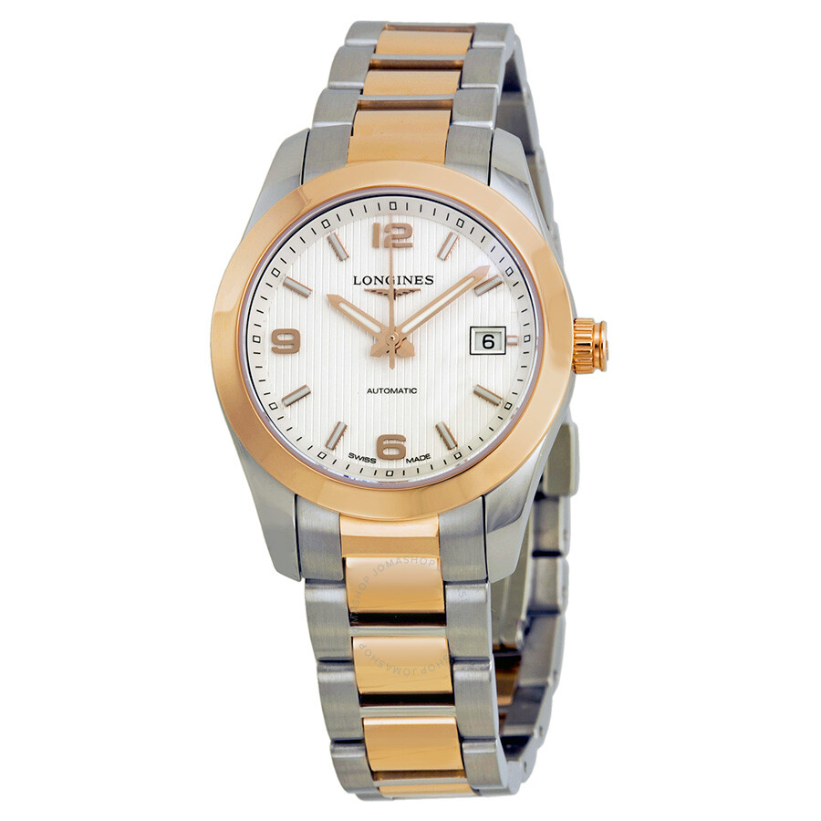 longines conquest automatic silver 18kt gold