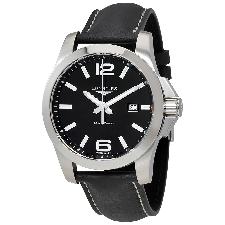 Longines Conquest Black Dial Black Leather Men's Watch ...