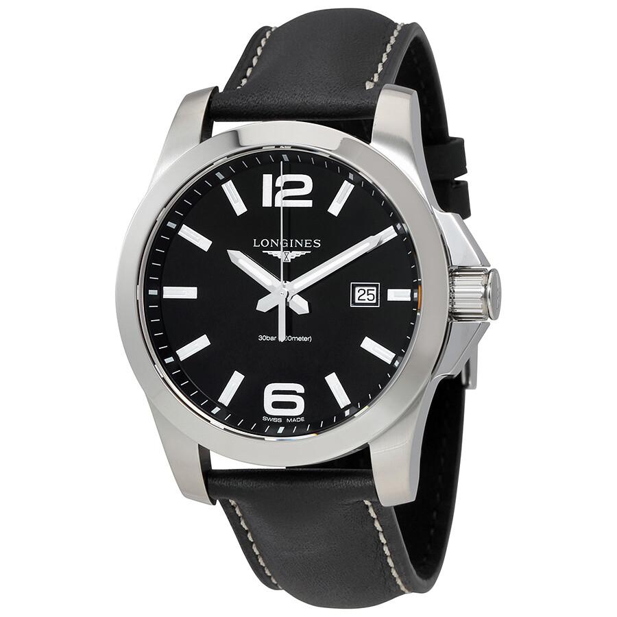 longines conquest black dial black leather men s watch l37604563