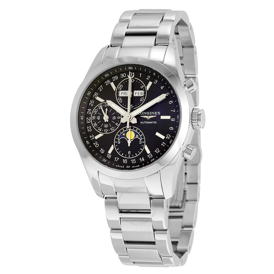 longines conquest classic black dial chronograph moon phase men s longines conquest classic black dial chronograph moon phase men s watch l27984526